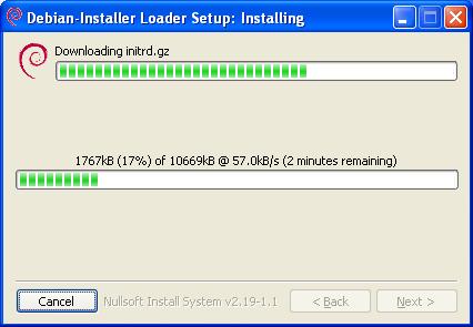 Debian installation in Windows (next step)