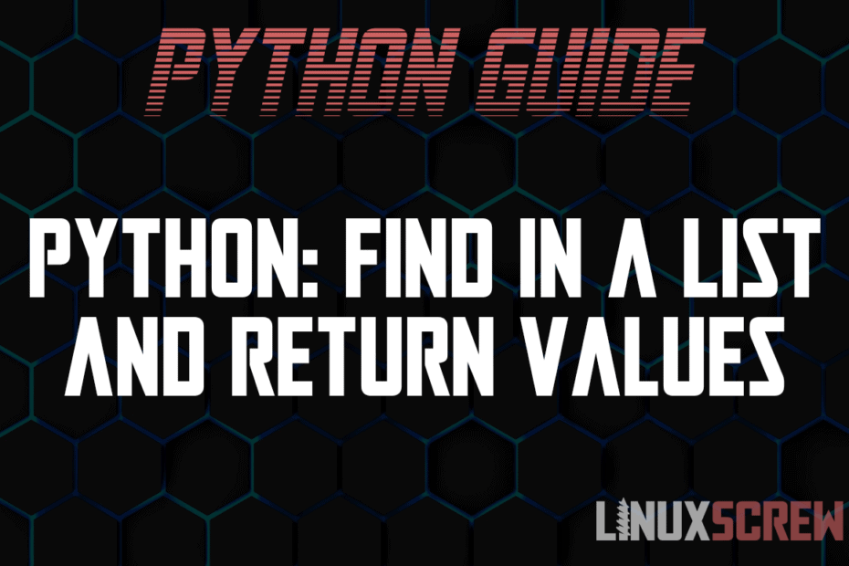 Python Find in a List and Return Values