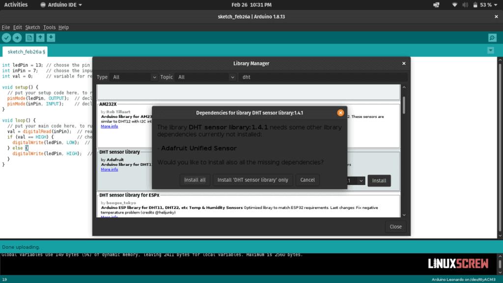 Installing DHT sensor library