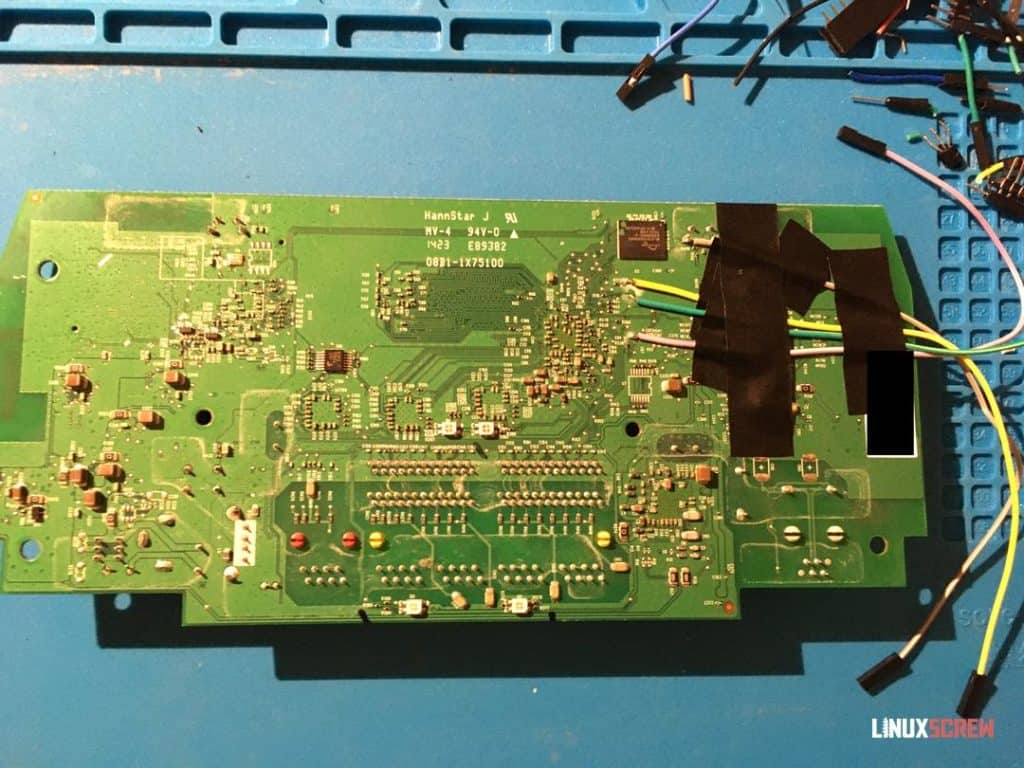 Serial port wires soldered to circuit board